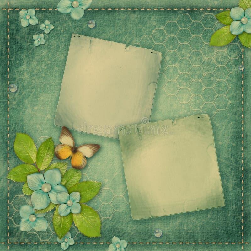 Błękitny rocznika tło dla album strony lub pokrywy zdjęcia stock