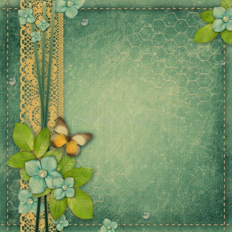 Błękitny rocznika tło dla album strony lub pokrywy obrazy stock