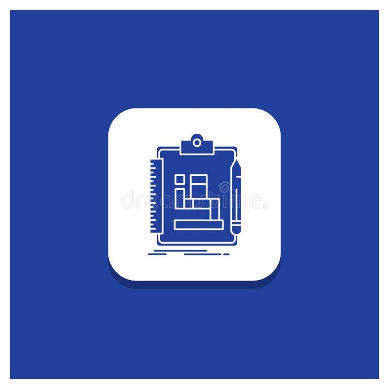 Błękitny Round guzik dla algorytmu, proces, plan, praca, obieg glifu ikona ilustracji