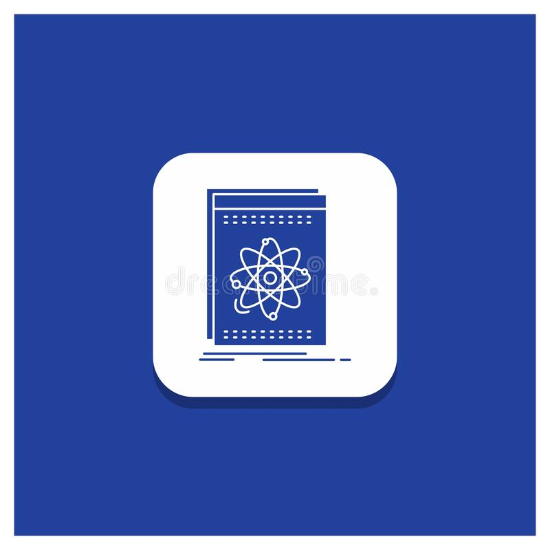 Błękitny Round guzik dla Api, zastosowanie, przedsiębiorca budowlany, platforma, nauka glifu ikona royalty ilustracja