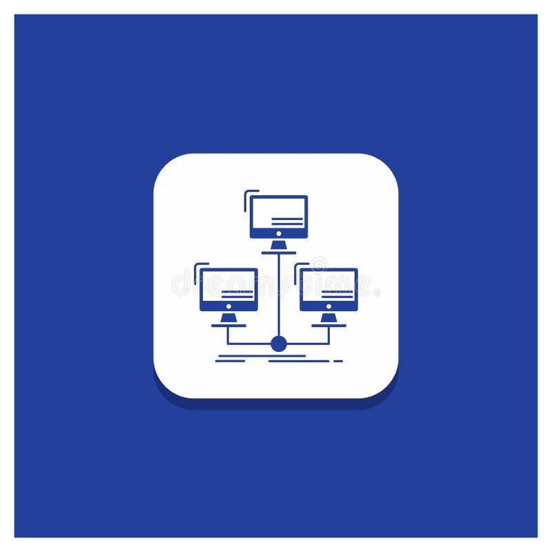 Błękitny Round guzik dla baza danych, zakłócający, związek, sieć, komputerowa glif ikona royalty ilustracja