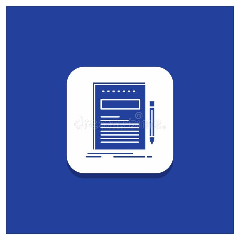 Błękitny Round guzik dla biznesu, dokument, kartoteka, papier, prezentacja glifu ikona ilustracji