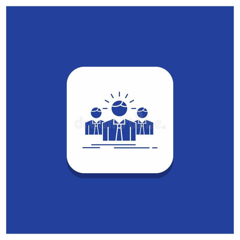 Błękitny Round guzik dla biznesu, kariera, pracownik, przedsiębiorca, lidera glifu ikona royalty ilustracja