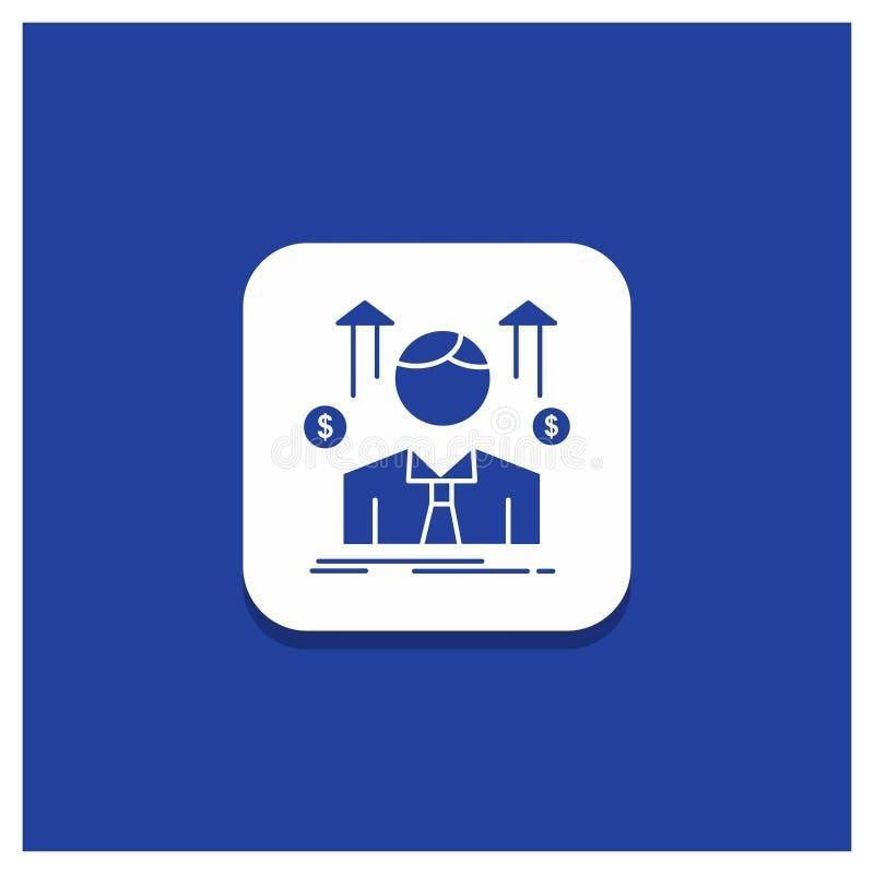 Błękitny Round guzik dla biznesu, mężczyzna, avatar, pracownik, sprzedaże obsługuje glif ikonę ilustracji