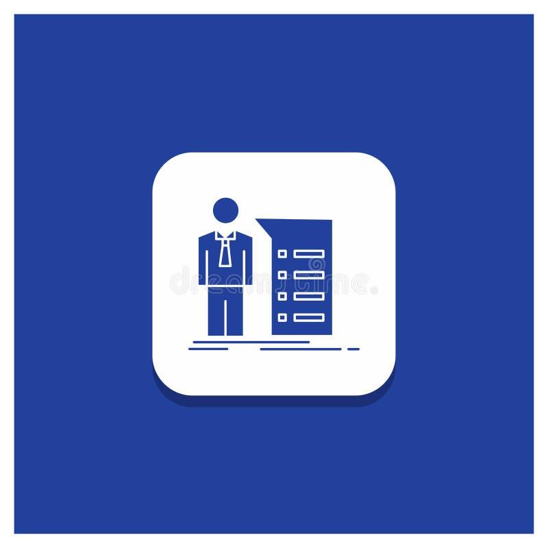 Błękitny Round guzik dla biznesu, wyjaśnienie, wykres, spotkanie, prezentacja glifu ikona ilustracja wektor