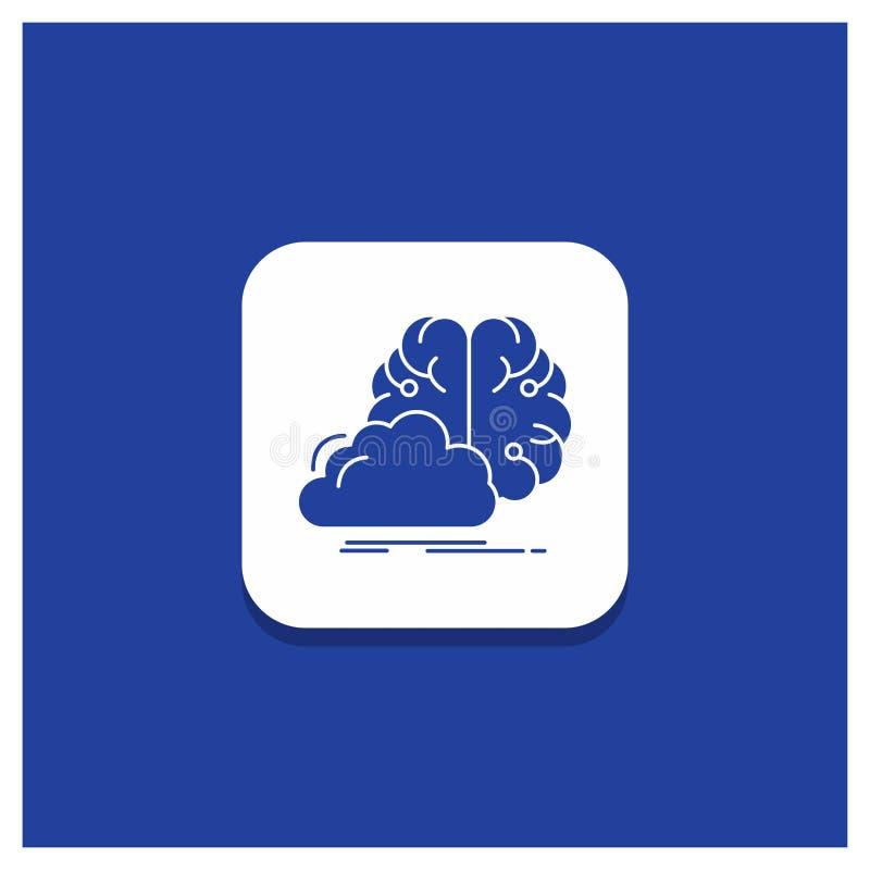 Błękitny Round guzik dla brainstorming, kreatywnie, pomysł, innowacja, inspiracja glifu ikona ilustracji