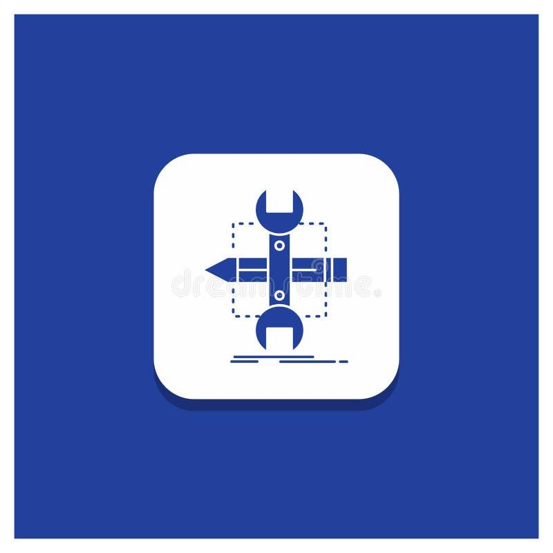 Błękitny Round guzik dla budowy, projekt, rozwija, kreśli, narzędzie glifu ikona ilustracja wektor