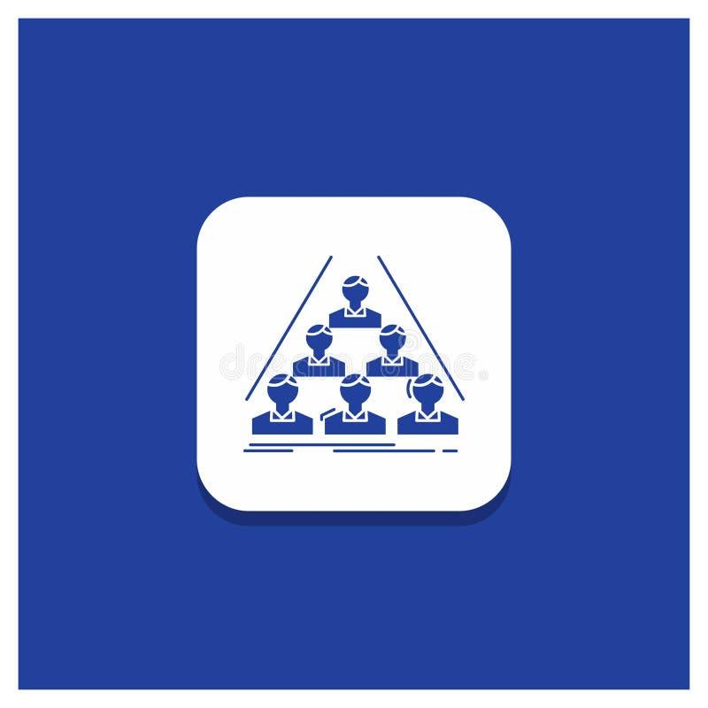 Błękitny Round guzik dla drużyny, budowa, struktura, biznes, spotyka glif ikonę ilustracja wektor
