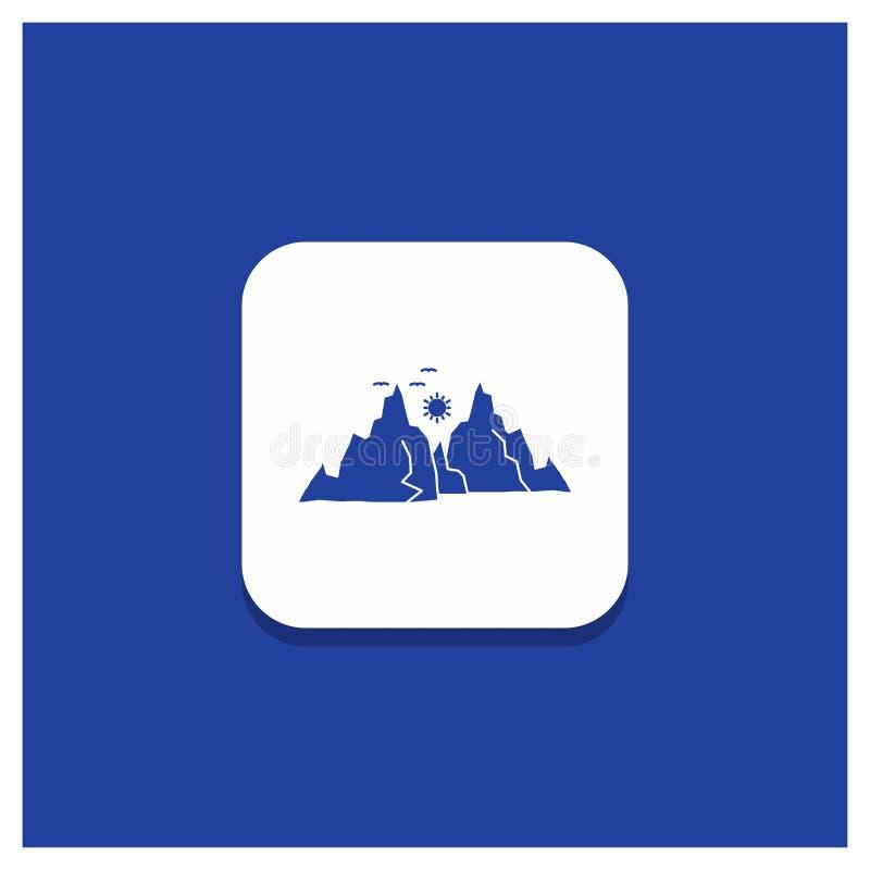 Błękitny Round guzik dla góry, krajobraz, wzgórze, natura, słońce glifu ikona royalty ilustracja