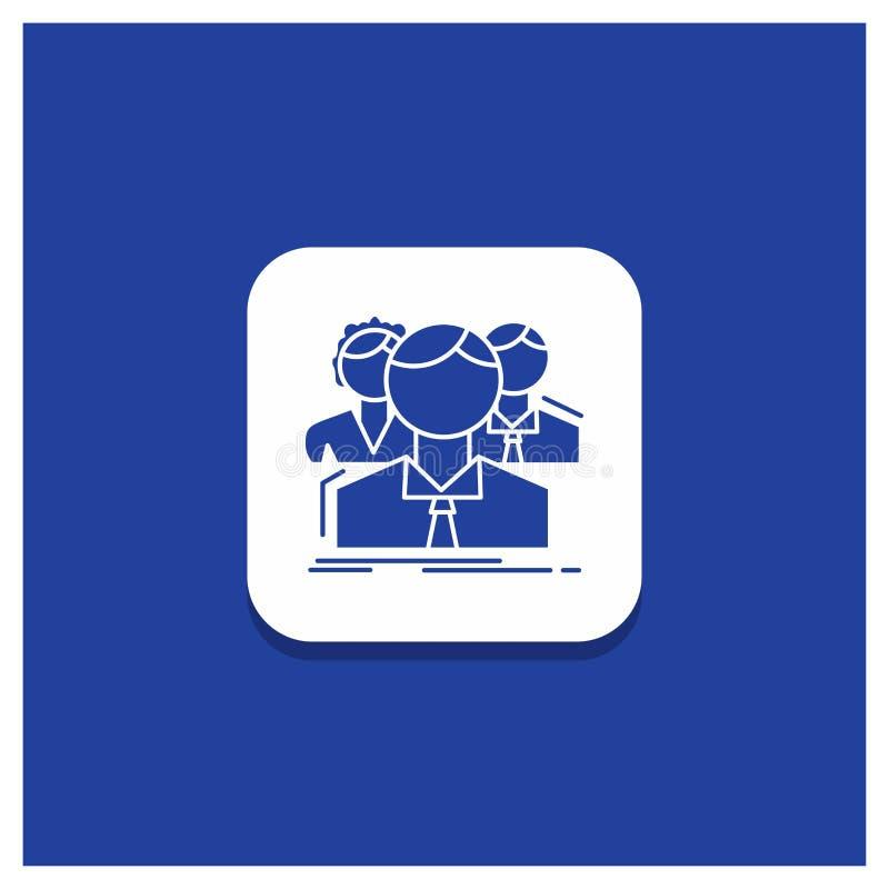 Błękitny Round guzik dla grupy, dla wielu graczy, ludzie, drużyna, online glif ikona ilustracja wektor