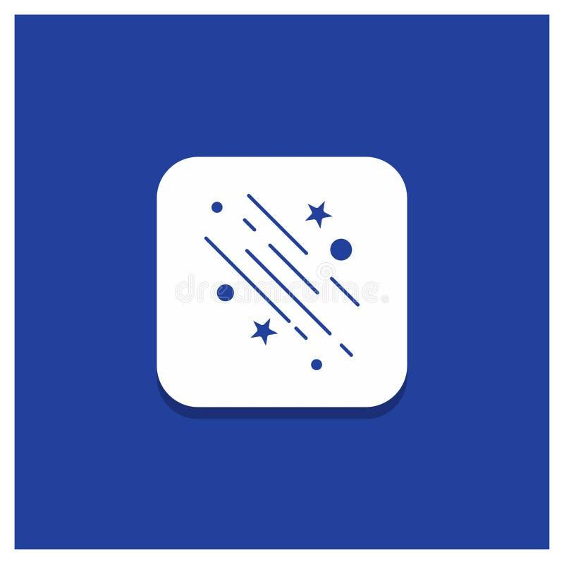Błękitny Round guzik dla gwiazdy, mknąca gwiazda, spada, przestrzeń, gra główna rolę glif ikonę ilustracji