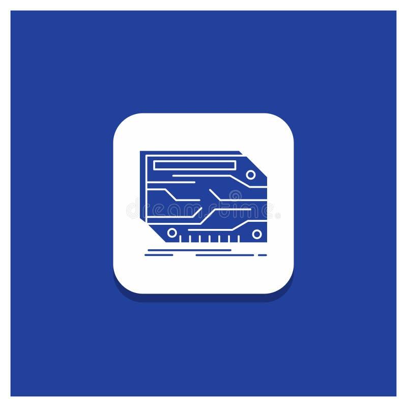 Błękitny Round guzik dla karty, składnik, zwyczaj, elektroniczny, pamięć glifu ikona royalty ilustracja
