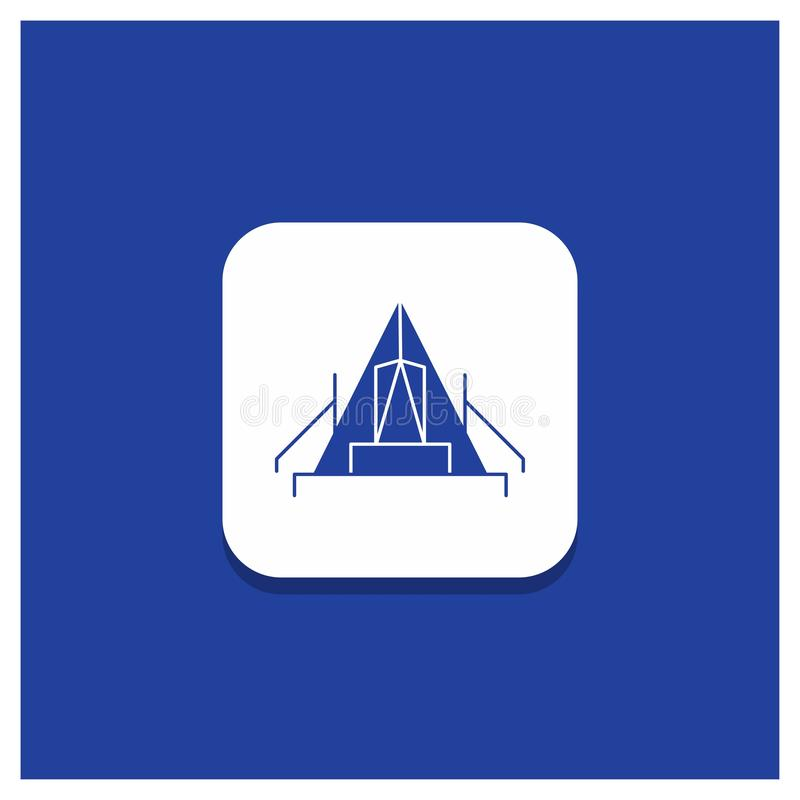 Błękitny Round guzik dla namiotu, camping, obóz, campsite, plenerowa glif ikona royalty ilustracja