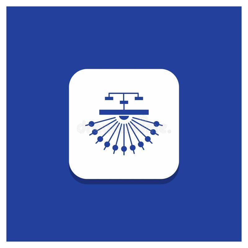 Błękitny Round guzik dla optymalizacji, miejsce, miejsce, struktura, sieć glifu ikona ilustracja wektor
