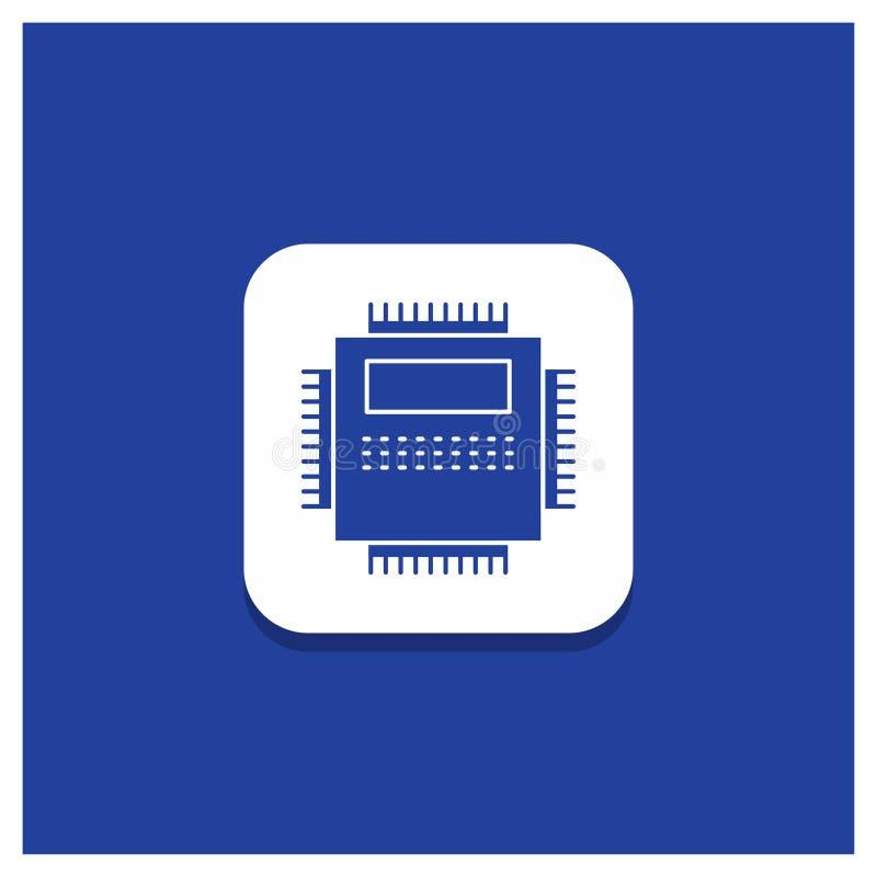 Błękitny Round guzik dla procesoru, narzędzia, komputer, pecet, technologia glifu ikona ilustracja wektor