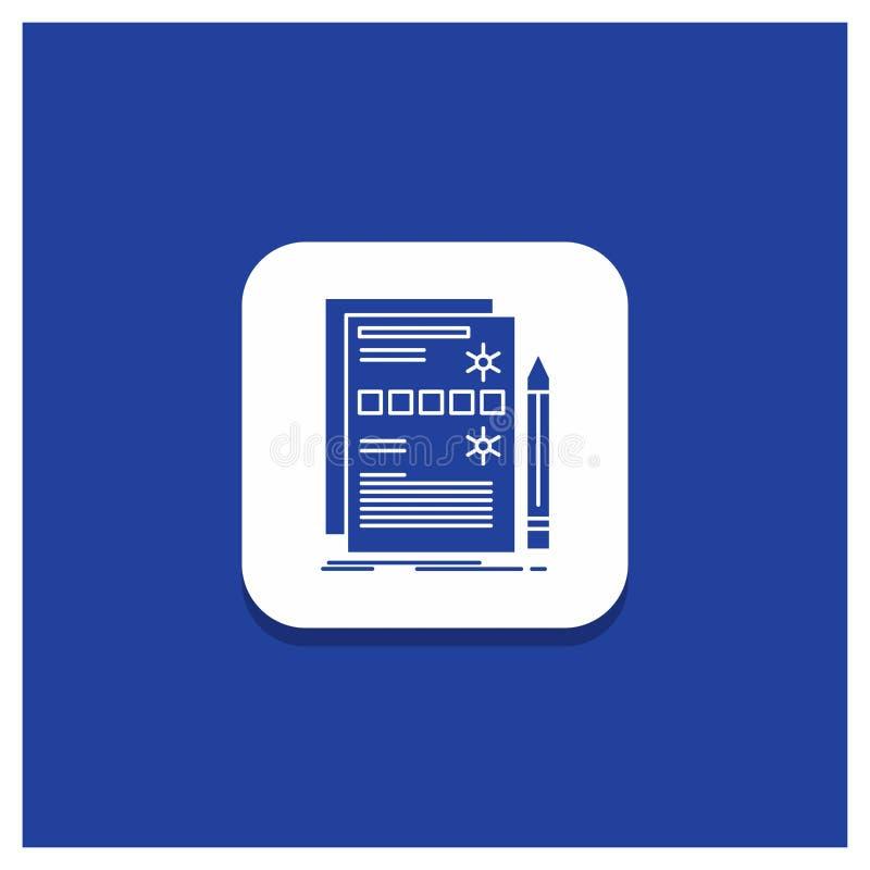 Błękitny Round guzik dla składnika, dane, projekt, narzędzia, systemu glifu ikona ilustracja wektor