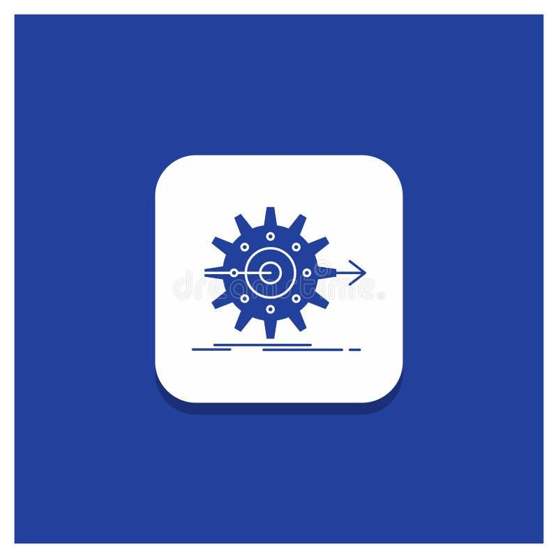 Błękitny Round guzik dla występu, postęp, praca, położenie, przekładnia glifu ikona ilustracja wektor