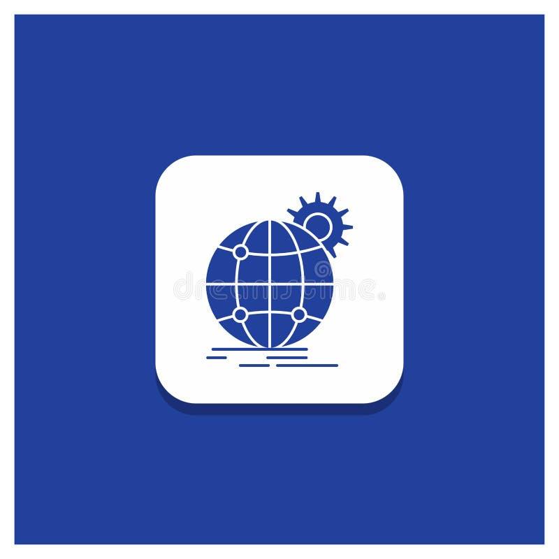 Błękitny Round guzik dla zawody międzynarodowi, biznes, kula ziemska, światowa, przekładnia glifu ikona royalty ilustracja
