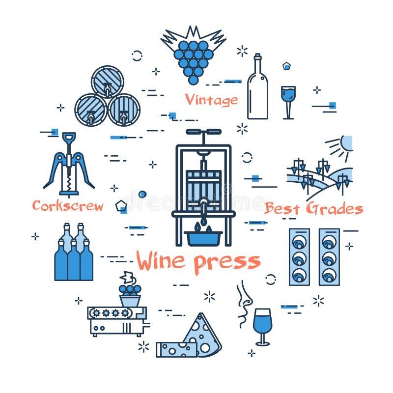 Błękitny round wino prasy pojęcie royalty ilustracja