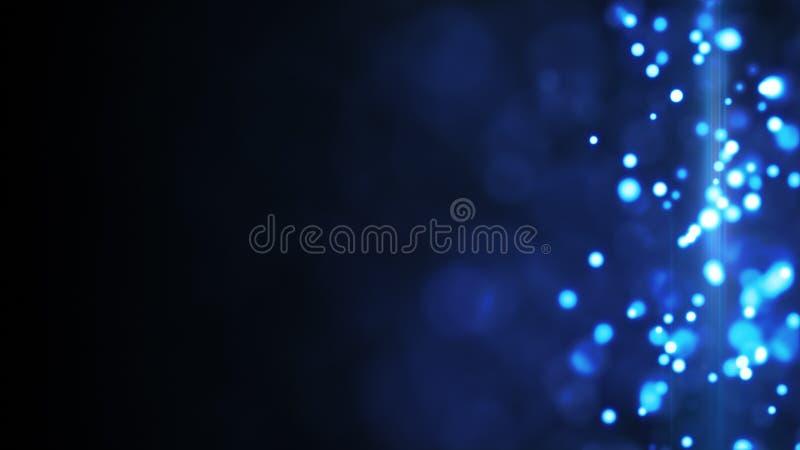 Błękitny rozjarzony bokeh zaświeca bocznego baru tło royalty ilustracja