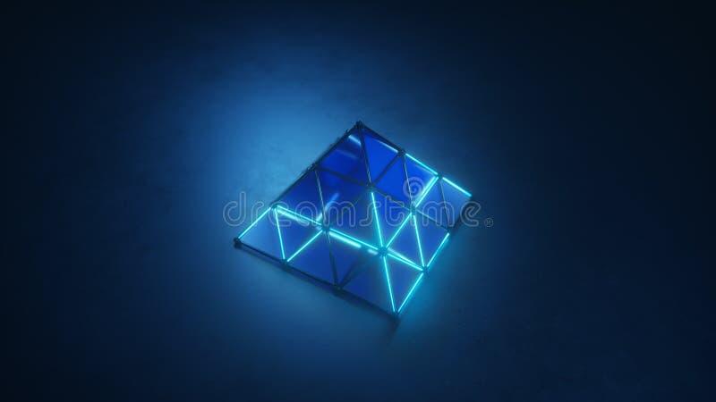 Błękitny rozjarzony ostrosłupa kształt 3D odpłaca się ilustrację ilustracji