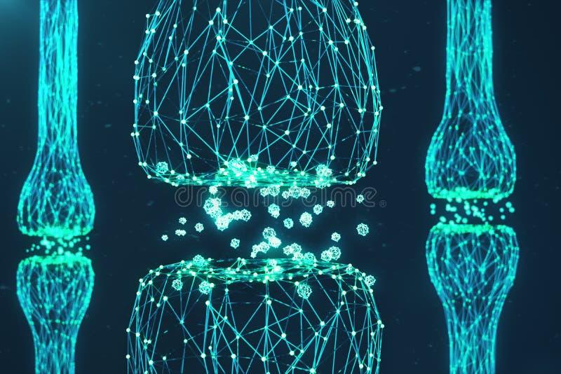 Błękitny rozjarzony synapse Sztuczny neuron w pojęciu sztuczna inteligencja Synaptic przekaz linie pulsy ilustracja wektor
