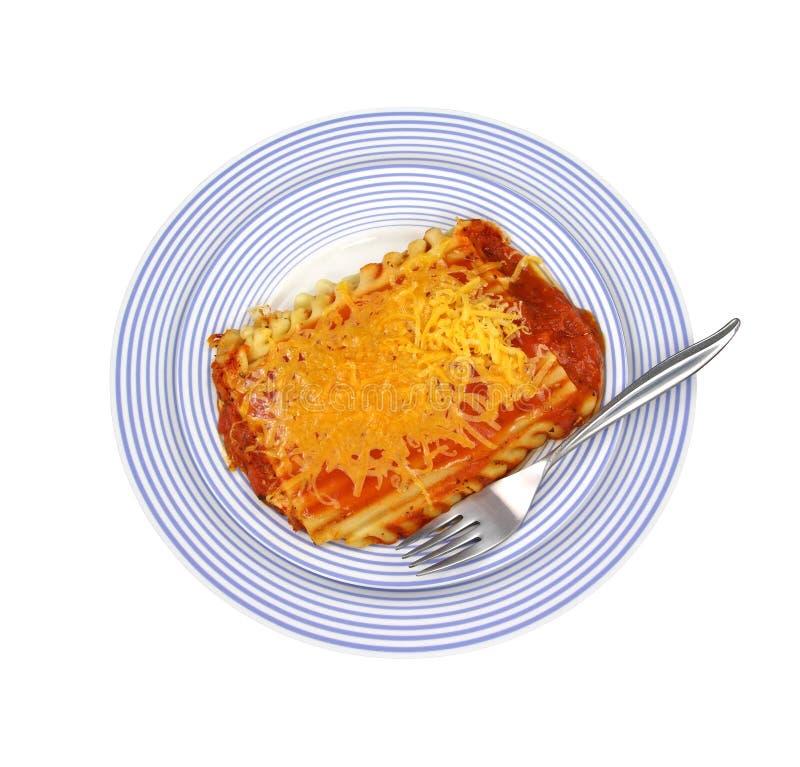 błękitny rozwidlenia lasagna talerz paskował obrazy stock