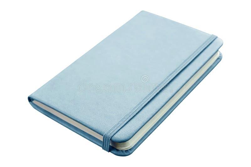 Błękitny rzemienny notatnik z elastycznego zespołu zamknięciem odizolowywającym na whit obrazy royalty free