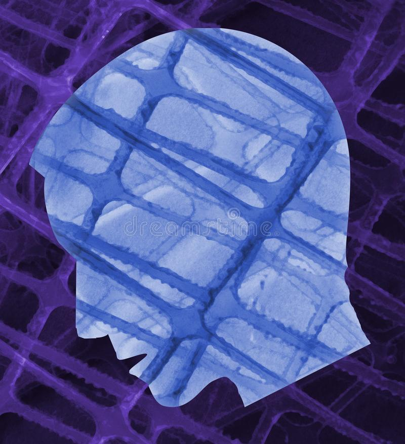 Błękitny samiec głowy depresji stres royalty ilustracja