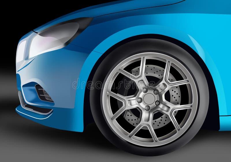 Błękitny samochód royalty ilustracja