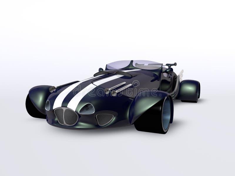 Błękitny samochodowy boczny widok royalty ilustracja