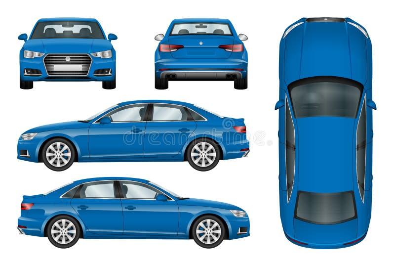 Błękitny samochodowy wektorowy szablon
