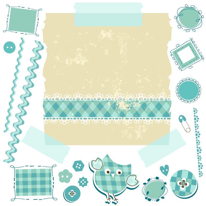 Błękitny scrapbook zestaw ilustracji