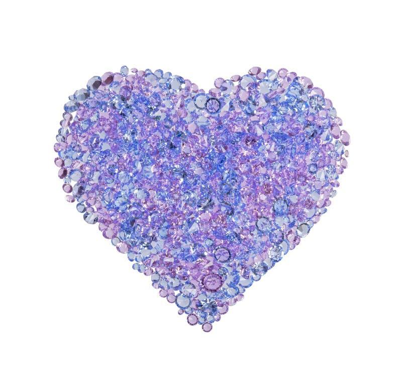 Błękitny serce robić cenni kamienie na białym tle Wysoka Rozdzielczo?? Fotografia fotografia stock