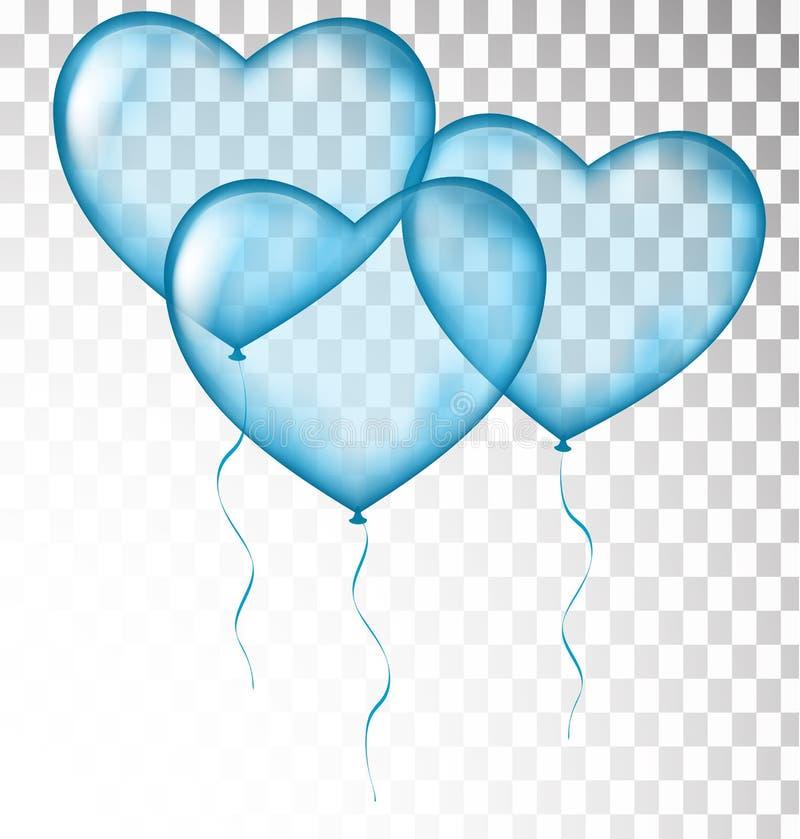 Błękitny serce szybko się zwiększać przejrzystego ilustracji