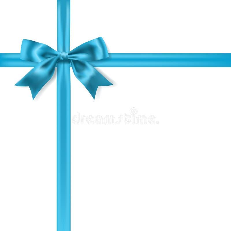 Błękitny silky łęku faborek na białym tle royalty ilustracja