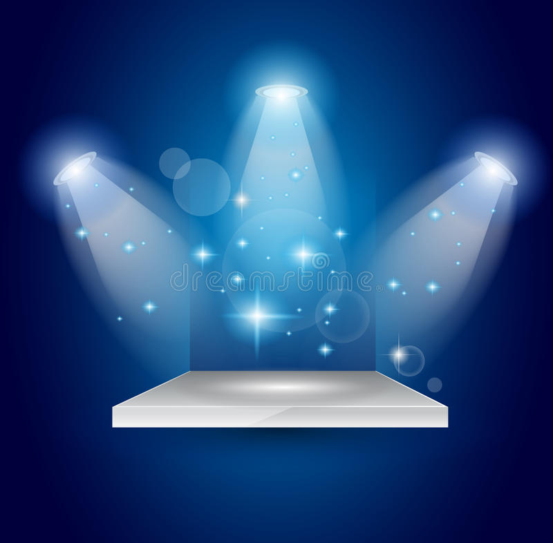 błękitny skutka rozjarzeni magiczni promieni światło reflektorów royalty ilustracja
