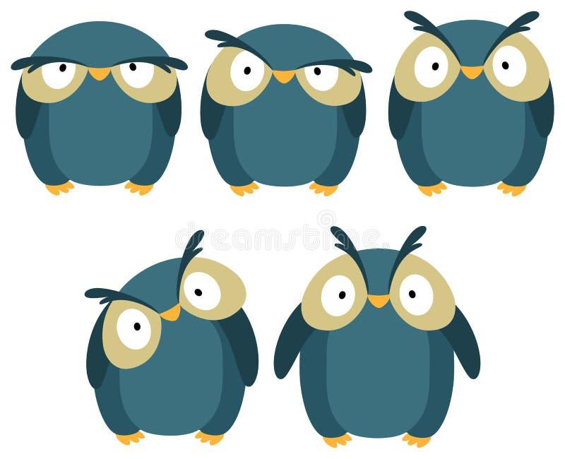 błękitny sowa ilustracja wektor