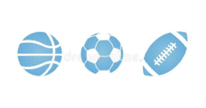 Błękitny sporta halftone kropkował wektorową ilustrację piłki ustawiać dla futbolu, koszykówka, piłka nożna, odizolowywająca na b zdjęcie royalty free