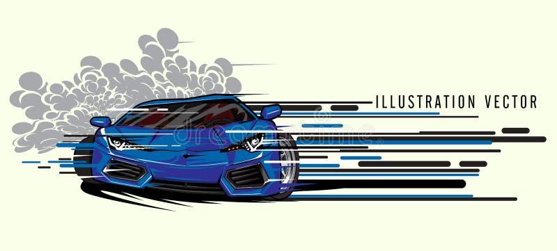 Błękitny sporta samochodu prędkości ilustracji super wektor royalty ilustracja