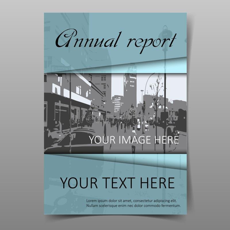 Błękitny sprawozdanie roczne pokrywy projekta szablon ilustracji