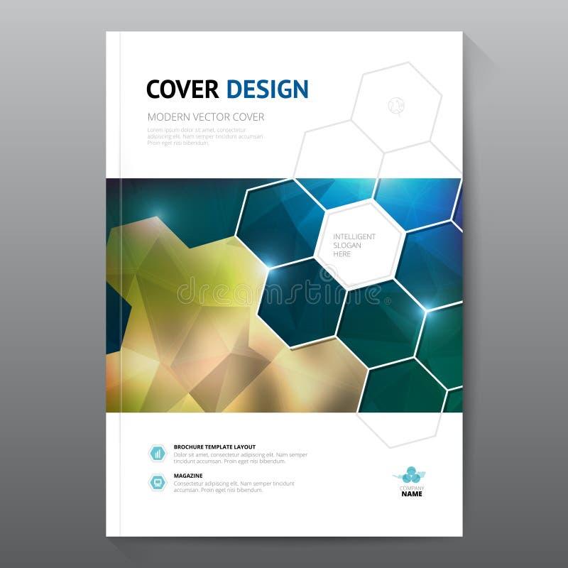 Błękitny sprawozdanie roczne ulotki broszurki ulotki szablonu A4 rozmiaru projekt, książkowej pokrywy układu projekt, Abstrakcjon royalty ilustracja