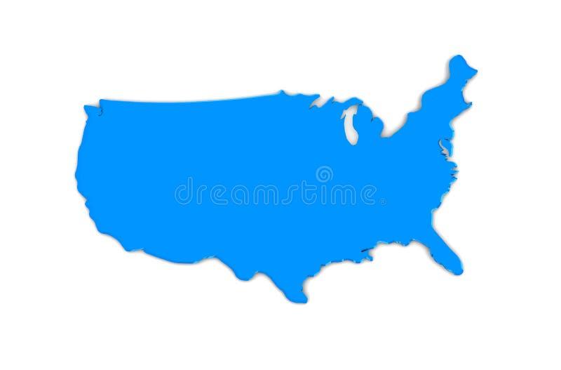 Błękitny Stany Zjednoczone mapa royalty ilustracja
