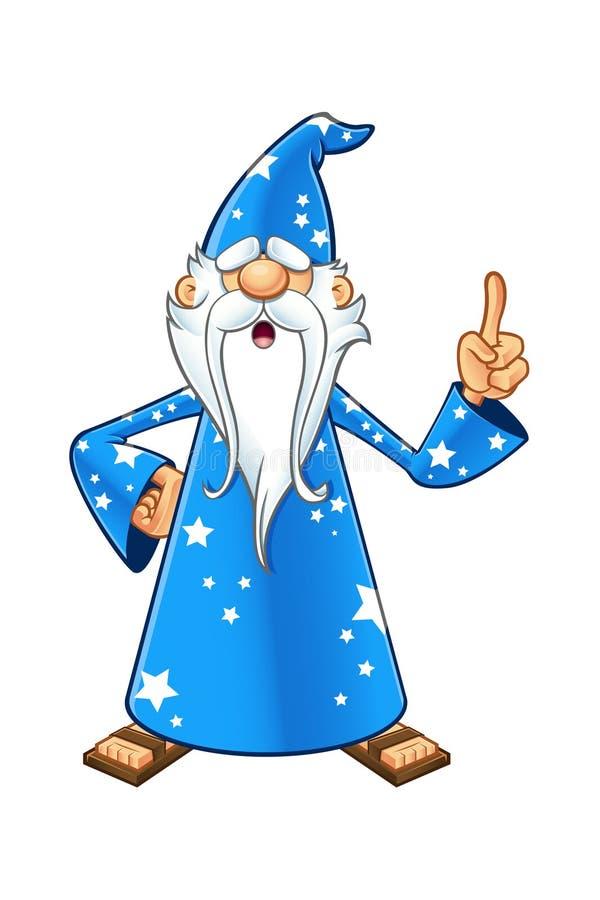 Błękitny Stary czarownika charakter ilustracji