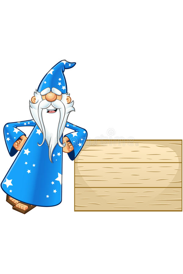 Błękitny Stary czarownika charakter ilustracja wektor