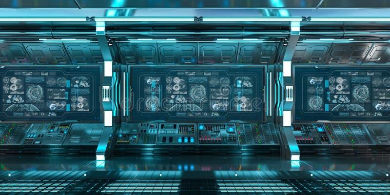 Błękitny statku kosmicznego wnętrze z pulpitem operatora ekranizuje 3D rendering ilustracji