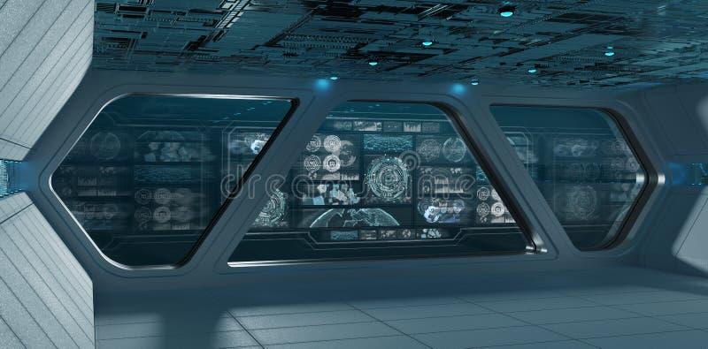 Błękitny statku kosmicznego wnętrze z pulpitem operatora ekranizuje 3D rendering ilustracja wektor
