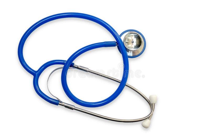 Błękitny stetoskop odizolowywający na białym tle Doktorski Medyczny Eq fotografia royalty free