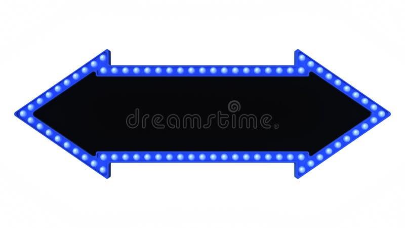 Błękitny strzałkowaty markizy światła deski znak retro na białym tle świadczenia 3 d royalty ilustracja