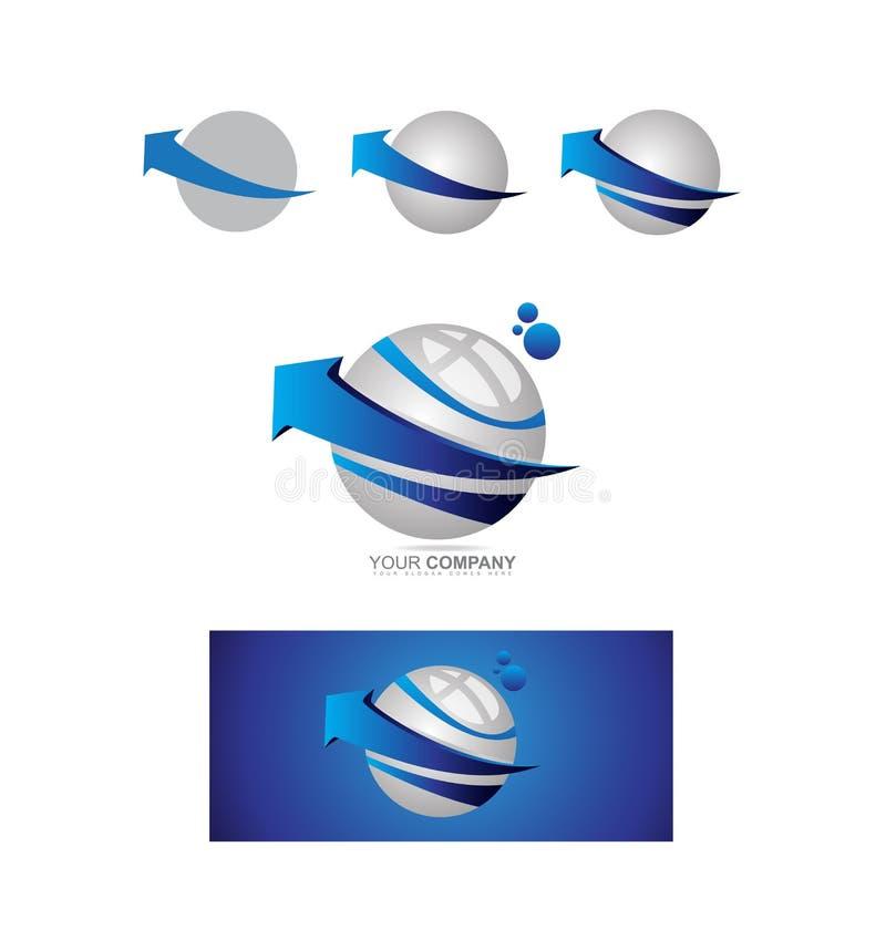 Błękitny strzałkowaty sfery 3d logo royalty ilustracja